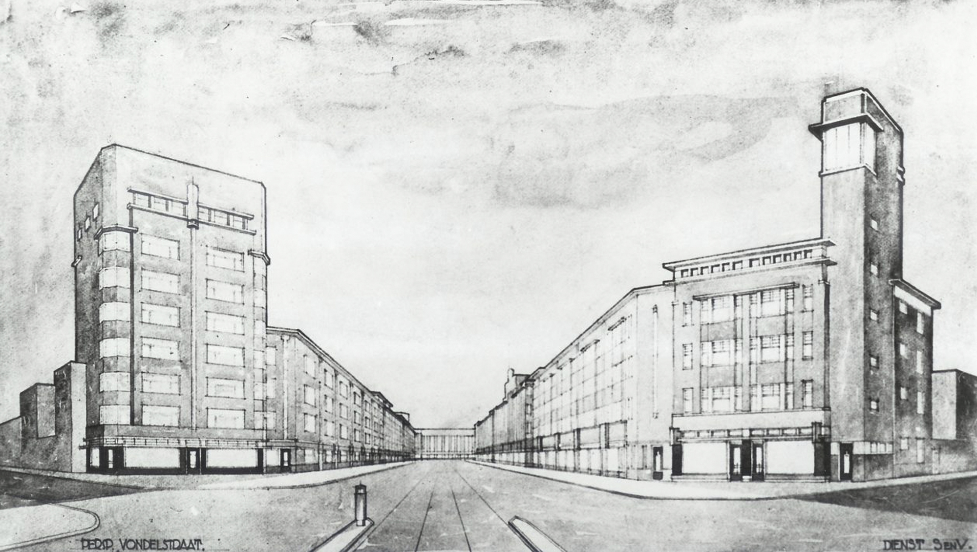 schetsplan Vndelstraat Nieuwe Haagse School stijl