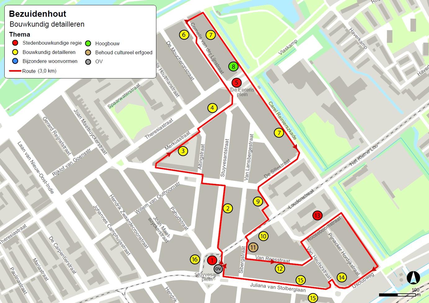 kaart wandeling Nieuwe haagse School architectuur bezuidenhout oost