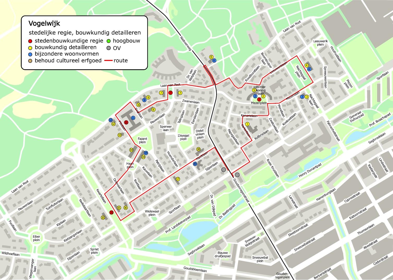 kaart nieuwe haagse school architectuur in de vogelwijk